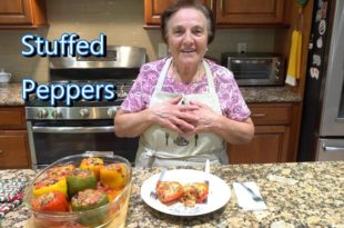 Italian Grandma Makes Stuffed Peppers STUFFED PEPPERS: 8 Large Bell Peppers, multi-colored 1 cup Onion, chopped 2-3 cloves Garlic, chopped/minced ½ cup Fresh Parsley, chopped ¼ cup Fresh Basil, chopped 1 cup Peeled Tomato, in Stuffing Mixture 1 lb Ground Beef 2 cups Partially Cooked Arborio Rice, or your favorite type of rice (Use as much or as little as you like) 1 cup grated Pecorino Romano Cheese 8 oz. Whole Milk Mozzarella, shredded 16 oz. Peeled Tomato, in baking dish - approx. 1 tsp Oregano Olive Oil Salt and Pepper to taste