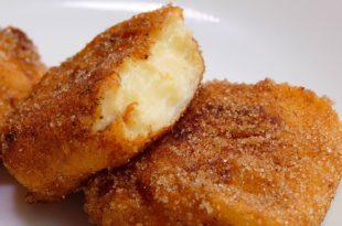 LECHE FRITA ¡Un postre que reviviría a los mismísimos DIOSES! - Gorka Barredo INGREDIENTES para 2 personas: - 500ml de leche - 250ml de leche+100g de maizena - cáscara de limón y naranja - 1 rama de canela - 3 yemas de huevo - 100g de azúcar - esencia de vainilla - 20g de mantequilla - harina y huevos para rebozar - azucar y canela en polvo - Aceite